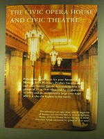 1980 Civic Opera House & Civic Theatre Chicago Ad
