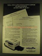 1980 Minolta EP 310 Copier Ad - Will Love in December