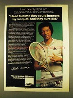 1980 AMF Head Arthur Ashe Competition Tennis Racquet Ad