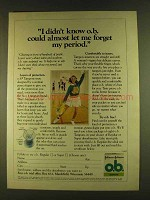 1980 Johnson & Johnson O.B. Tampons Ad - Forget Period