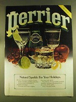 1980 Perrier Water Ad - Natural Sparkle For Holidays