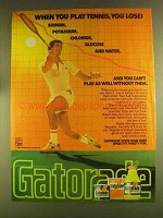 1980 Gatorade Drink Ad - When You Play Tennis, You Lose
