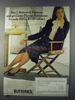 1980 Butterick Patterns Ad - Evan-Picone Pantyhose