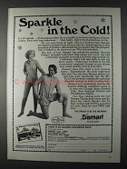 1980 Damart Underwear Ad - Sparkle in the Cold