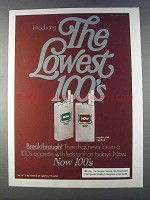 1980 Now 100's Cigarettes Ad - The Lowest
