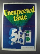 1980 True Filter Cigarettes Ad - Unexpected Taste