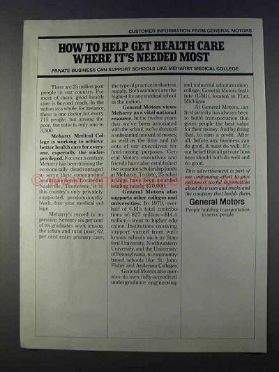 1980 General Motors Ad Help Get Health Care