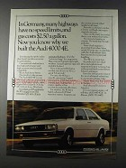 1980 Audi 4000 4E Car Ad - In Germany No Speed Limits