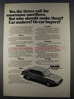1980 Saab 900 Car Ad - Enormous Sacrifices