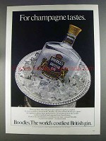 1980 Boodles Gin Ad - For Champagne Tastes