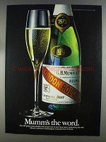 1980 Mumm Champagne Ad - Mumm's the Word
