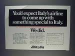 1980 Alitalia Airlines Ad - You'd Expect Special