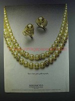 1981 Mikimoto Golden Pearl Necklace and earrings Ad