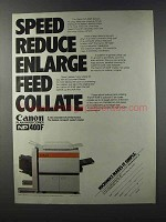 1981 Canon NP-400F Copier Ad - Speed Reduce