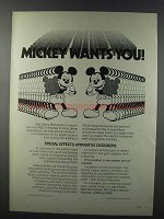 1981 WED Enterprises Ad - Mickey Wants You