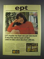 1981 e.p.t. Early pregnancy Test Ad - Feel Secure