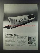 1981 Clinique Gel Rouge Makeup Ad - Here to Stay