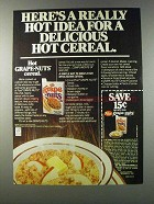 1981 Post Grape-Nuts Cereal Ad - Here's a Hot Idea