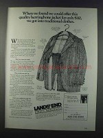 1981 Lands' End Herringbone Jacket Ad - Offer Quality