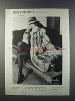 1981 Yves Saint Laurent Cross Fox Fur Ad - Alixandre