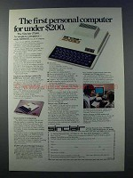 1981 Sinclair ZX80 Computer Ad - First For Under $200