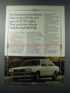 1981 Audi 4000 4E Car Ad - In Germany No Speed Limits