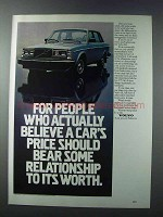 1981 Volvo GL Car Ad - Relationship to Its Worth