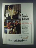 1981 United Airlines Ad - She Travels Two Worlds