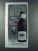 1981 August Sebastiani Light Country White Wine Ad