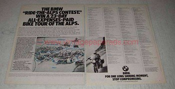 1981 BMW Motorcycles Ad - Ride-the-Alps Contest
