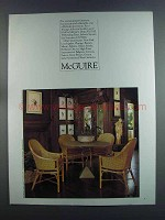 1982 McGuire Table and Chairs Furniture Advertisement