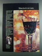 1982 Waterford Crystal Wine Glass Ad - A La Carte