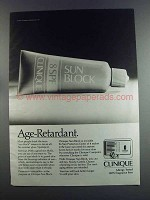1982 Clinique Sun Block Ad - Age-Retardant