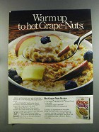 1982 Post Grape-Nuts Cereal Ad - Warm Up to Hot