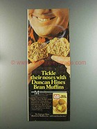 1982 Duncan Hines Bran Muffin Mix Ad - Tickle Noses