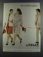 1982 Jaeger Sportswear Ad - You Can Tell at a Glance