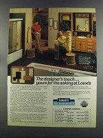 1982 Lowe's Oak Cabinet and Wicker Chair Ad