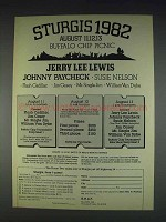 1982 Sturgis Buffalo Chip Picnic Ad - Jerry Lee Lewis