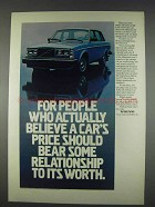 1982 Volvo GL Car Ad - Price Should Bear Relationship