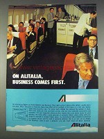 1982 Alitalia Airlines Ad - Business Comes First