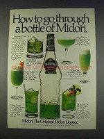 1982 Midori Melon Liqueur Ad - Go Through a Bottle