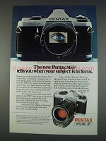 1982 Pentax ME-F Camera Ad - When Subject is In Focus