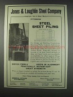 1910 Jones & Laughlin Steel Company Ad - Sheet Piling
