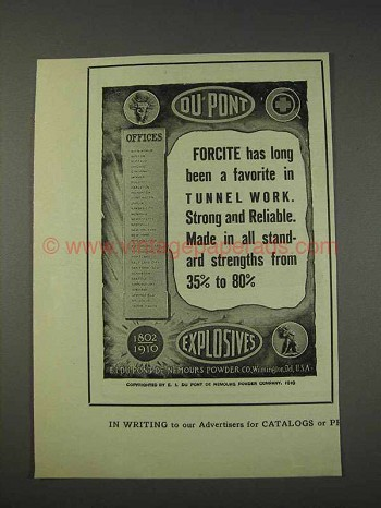 1910 Du Pont Forcite Ad - In Tunnel Work