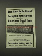 1910 The American Rolling Mill Ingot Iron Ad