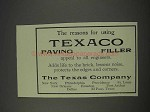 1910 Texaco Paving Filler Ad - Reasons for Using