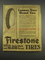 1916 Firestone Red Side Wall and Black Tread Tires Ad