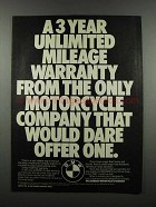 1983 BMW Motorcycles Ad - Unlimited Mileage Warranty