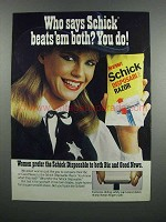 1983 Schick Disposable razor Ad - Beats 'em Both