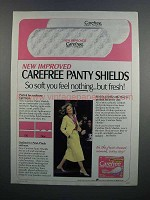 1983 Carefree Panty Shields Ad - You Feel Nothing